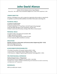 Sample Resume Formats For Freshers by Sample Resume Format For Fresh Graduates One Page Format