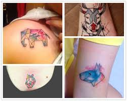 geometric watercolor tattoo paint on your body from maywjn