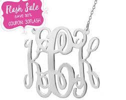 Monogram Necklaces Silver Monogram Necklace Etsy