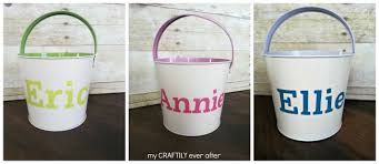 easter buckets personalized easter buckets pottery barn knock my craftily