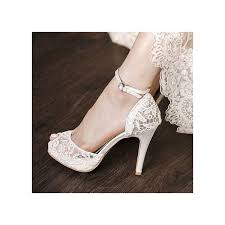 wedding shoes heels white bridal shoes lace heels peep toe ankle platform pumps