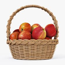 wicker basket 04 set 4 color with apples by markelos 3docean
