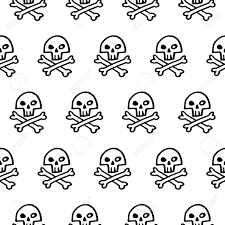 white and black halloween background doodle style pirate skull and crossbones seamless vector pattern
