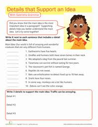 writing workout supporting the main idea worksheet education com