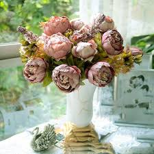 huntgold 1x artificial peony silk flowers bouquet for wedding