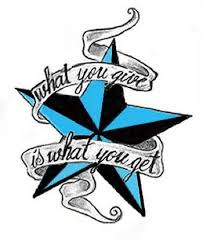 what you give is what you get blue and black nautical star tattoo