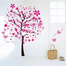 Cartoon Wall Painting In Bedroom Amazon Com Amaonm Cartoon Pink Heart Peach Tree Wall Decals