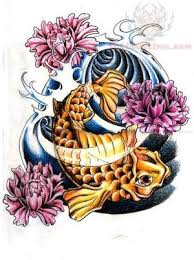 koi fish with flowers tattoo design photo 1 photo pictures