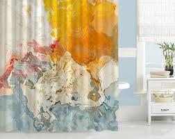 Blue And Orange Bathroom Decor Abstract Shower Curtain Contemporary Bathroom Decor Aqua