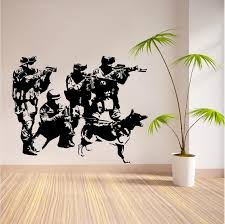 military wall murals home decorating interior design bath military wall murals part 16 c099 swat team military army soldiers dogs removeable vinyl