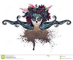 sugar skull in flower crown stock illustration illustration