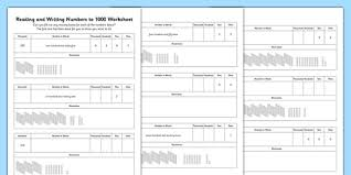 reading and writing numbers to 1000 worksheet reading