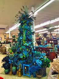 White Christmas Tree With Blue Decorations Peacock Christmas Tree Gorgeous Christmas Decor Pinterest