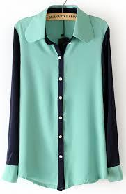 mint blouse mint green lapel contrast sleeve chiffon blouse shein sheinside