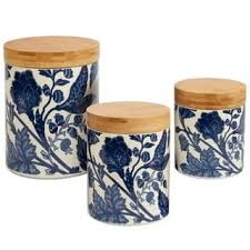 blue and white kitchen canisters certified international ceramic kitchen canisters for less