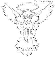 praying angel with bleeding eye tattoo on arm