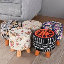 Beech Ottoman Removable Washable Fabric Pine Wood Stools Low Solid Wood Fabric