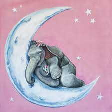 Nursery Decor Cape Town by Cute Whimsical Sleeping Baby Elephant Mouse Stargazer Lily
