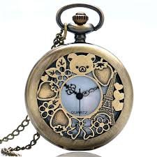 pocket watch chain necklace images Pocket watch lovely cute rilakkuma cubs hollow style women jpg