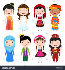 traditional costumes clothing world stock vector