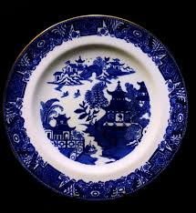 willow pattern jam pot 1891 antique royal worcester porcelain transferware plate blue