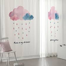 Nursery Curtains Sale White Cloud Print Velvet And Linen Nursery Curtains On Sale