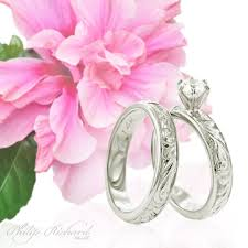 Hawaiian Wedding Rings by Shiny Old English Scroll Engagement Ring U0026 Wedding Band Hawaiian