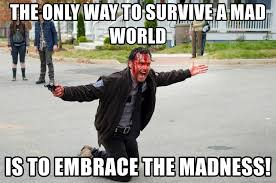 the only way to survive a mad world is to embrace the madness