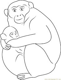 baby monkey sleeping with mother coloring page free monkey