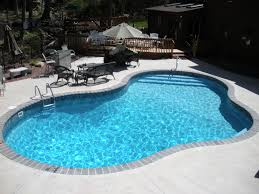 Inground Pool Designs by Vinyl Lined In Ground Pool W Custom Steel Stairs And Bench
