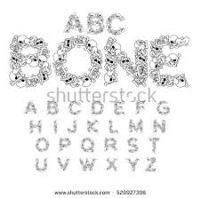 bones abc skeleton font letters anatomy stock vector 529927396