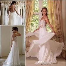 Cheap Boho Clothes Online 2015 Boho Lace Appliqued Beach Wedding Dresses Spaghetti Straps