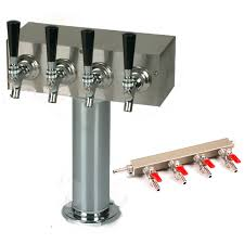 Stainless Steel Beer Faucet 4 Faucet Stainless Steel T Tower For Draft Beer Coolers With 4 Way