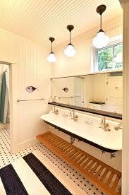 Schoolhouse Pendant Lights Cottage Master Bathroom With Wall Mounted Sink U0026 Pendant Light