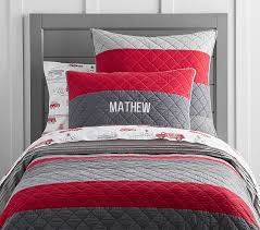 Red And Grey Comforter Block Stripe Quilt Pottery Barn Kids