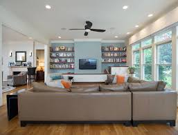 light blocking curtains in family room contemporary with silver