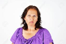 middle aged grumpy irritated and upset middle aged woman stock photo picture