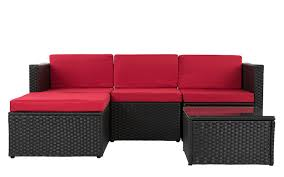 red and black coffee table kilauea modern small sectional w coffee table sofamania com