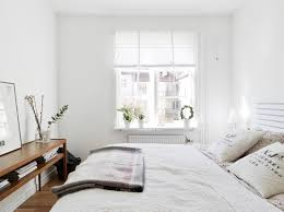 elegant small white bedroom ideas with window treatment and