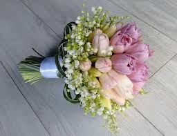 wedding flowers valley violet tulips pink tulips white of the valley green