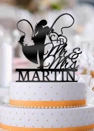 fishing wedding cake toppers personalized fishing with name and initials wedding cake