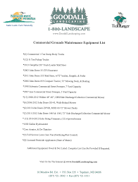 our equipment list goodall landscaping