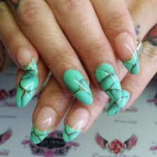 sculpted stiletto baby boomer french fade nails python accent