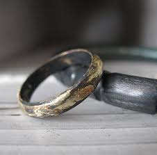 gold or silver wedding rings rustic gold and oxidized silver mens wedding band 4mm width