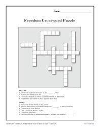 freedom crossword puzzle black history month worksheets