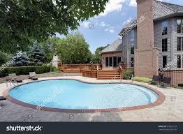 home pool swimming pool back luxury home wood stock photo 613622132
