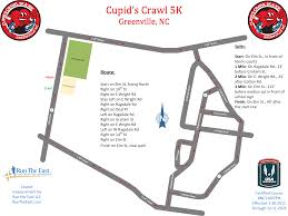 Greenville Nc Map Course Map Cupid U0027s Crawl 10k 5k In Greenville Nc