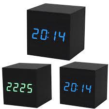 horloge de bureau design pet 1 pc numérique led noir en bois bureau en bois alarme