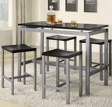 atlus 5 piece counter height silver metal and black dining table