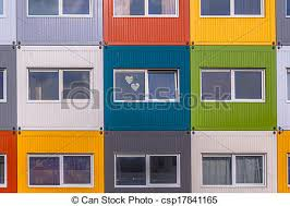 colorful building colorful apartment building house block apartments in stock
